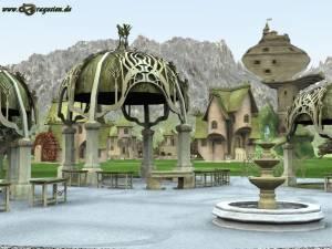 Ein Blick übers Dorf