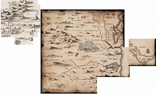 Die bisher aus Teilstücken zusammengesetzte Landkarte von Dragosien